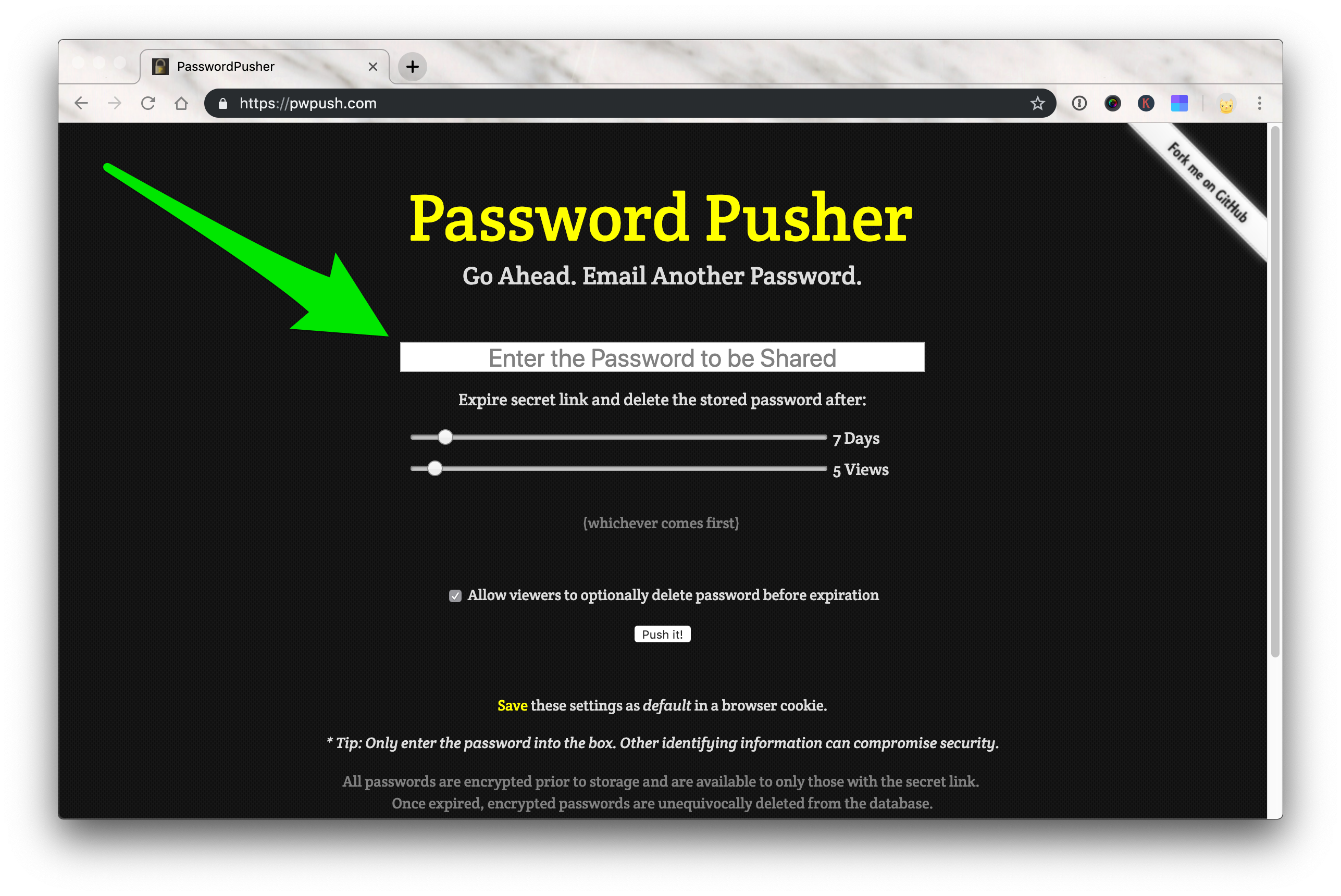 A screenshot of the Password Pusher tool