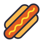 An illustrated hot dog with mustard